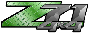 Green Diamond Plate 4x4 Bedside Chevy Z71 Decals for Colorado, Siverado or Sierra GMC Truck #9706