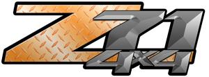 Orange Diamond Plate 4x4 Bedside Chevy Z71 Decals for Colorado, Siverado or Sierra GMC Truck #9708