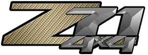 Gold Carbon Fiber 4x4 Bedside Chevy Z71 Decals for Colorado, Siverado or Sierra GMC Truck #9607