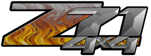 Gray Flame 4x4 Bedside Chevy Z71 Decals for Colorado, Siverado or Sierra GMC Truck #9501