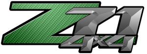 Green Carbon Fiber 4x4 Bedside Chevy Z71 Decals for Colorado, Siverado or Sierra GMC Truck #9608