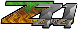 Green Flame 4x4 Bedside Chevy Z71 Decals for Colorado, Siverado or Sierra GMC Truck #9502