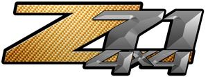 Orange Carbon Fiber 4x4 Bedside Chevy Z71 Decals for Colorado, Siverado or Sierra GMC Truck #9610