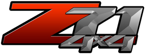 Red Gradient 4x4 Bedside Chevy Z71 Decals for Colorado, Siverado or Sierra GMC Truck #9803