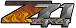 Black Flame 4x4 Bedside Chevy Z71 Decals for Colorado, Siverado or Sierra GMC Truck #9509