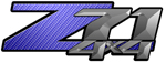 Blue Carbon Fiber 4x4 Bedside Chevy Z71 Decals for Colorado, Siverado or Sierra GMC Truck #9606