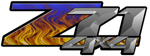 Blue Flame 4x4 Bedside Chevy Z71 Decals for Colorado, Siverado or Sierra GMC Truck #9500