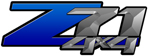 Blue Gradient 4x4 Bedside Chevy Z71 Decals for Colorado, Siverado or Sierra GMC Truck #9800