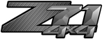 Charcoal Carbon Fiber 4x4 Bedside Chevy Z71 Decals for Colorado, Siverado or Sierra GMC Truck #9605