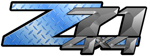 Blue Diamond Plate 4x4 Bedside Chevy Z71 Decals for Colorado, Siverado or Sierra GMC Truck #9701