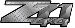Charcoal Diamond Plate 4x4 Bedside Chevy Z71 Decals for Colorado, Siverado or Sierra GMC Truck #9702