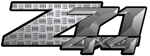 Charcoal Industrial Diamond Plate 4x4 Bedside Chevy Z71 Decals for Colorado, Siverado or Sierra GMC Truck #9703