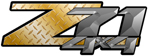 Gold Diamond Plate 4x4 Bedside Chevy Z71 Decals for Colorado, Siverado or Sierra GMC Truck #9705