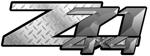 Silver Diamond Plate 4x4 Bedside Chevy Z71 Decals for Colorado, Siverado or Sierra GMC Truck #9710