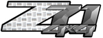 Silver Industrial Diamond Plate 4x4 Bedside Chevy Z71 Decals for Colorado, Siverado or Sierra GMC Truck #9711