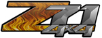 Orange Flame 4x4 Bedside Chevy Z71 Decals for Colorado, Siverado or Sierra GMC Truck #9503