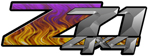 Purple Flame 4x4 Bedside Chevy Z71 Decals for Colorado, Siverado or Sierra GMC Truck #9504