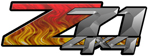Red Flame 4x4 Bedside Chevy Z71 Decals for Colorado, Siverado or Sierra GMC Truck #9505