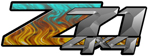 Teal Flame 4x4 Bedside Chevy Z71 Decals for Colorado, Siverado or Sierra GMC Truck #9506