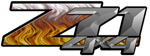 White Flame 4x4 Bedside Chevy Z71 Decals for Colorado, Siverado or Sierra GMC Truck #9507