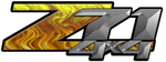 Yellow Flame 4x4 Bedside Chevy Z71 Decals for Colorado, Siverado or Sierra GMC Truck #9508